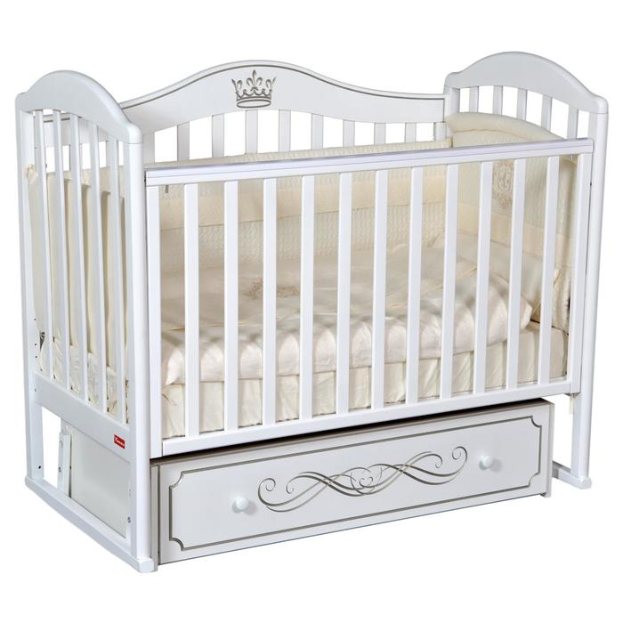 Кроватка Berta Elite, универсальный маятник, фигурная спинка, ящик, цвет белый - фото 9020738
