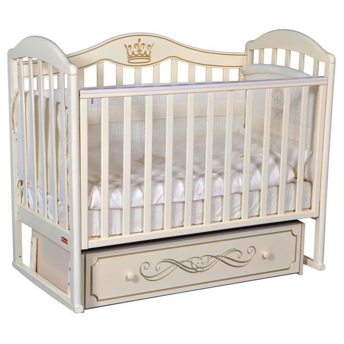 Кроватка Berta Elegance, универсальный маятник, фигурная спинка, ящик, цвет слоновая кость - фото 9020740