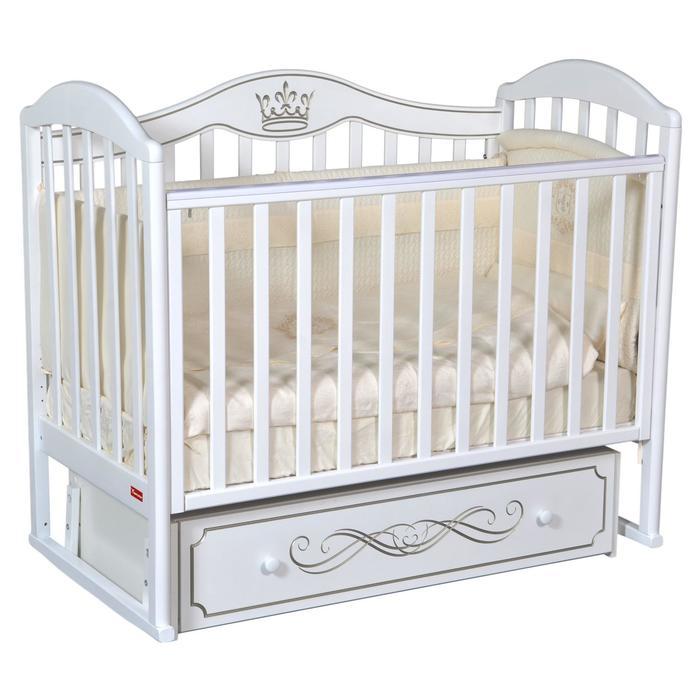 Кроватка Berta Elegance, универсальный маятник, фигурная спинка, ящик, цвет белый - фото 9020741