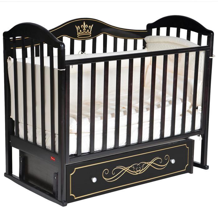 Кроватка Berta Elegance, универсальный маятник, фигурная спинка, ящик, цвет шоколад - фото 9020742