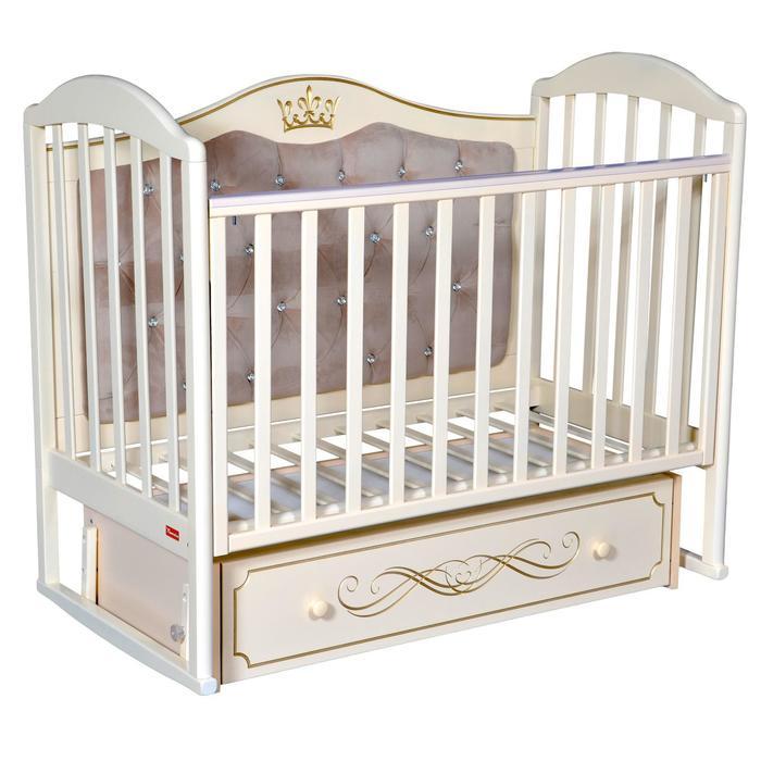 Кроватка Berta Elegance Premium, мягкая спинка, маятник, ящик, цвет слоновая кость - фото 9020743