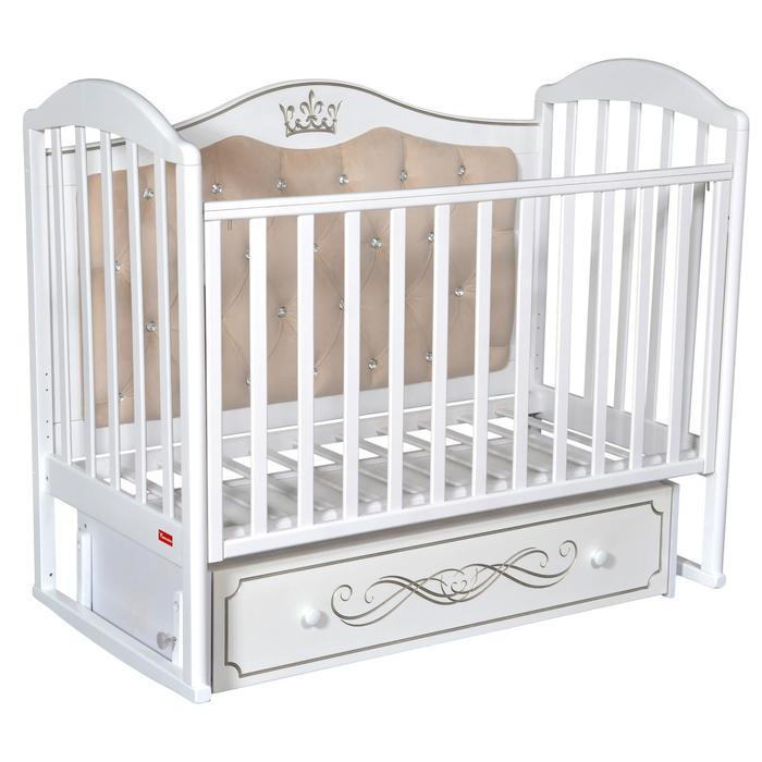 Кроватка Berta Elegance Premium, универсальный маятник, фигурная спинка, ящик, цвет белый - фото 9020744