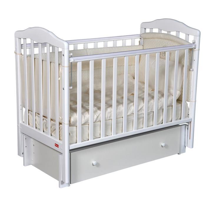 Кроватка Michele Premium, автостенка, универсальный маятник, цвет белый - фото 9020759