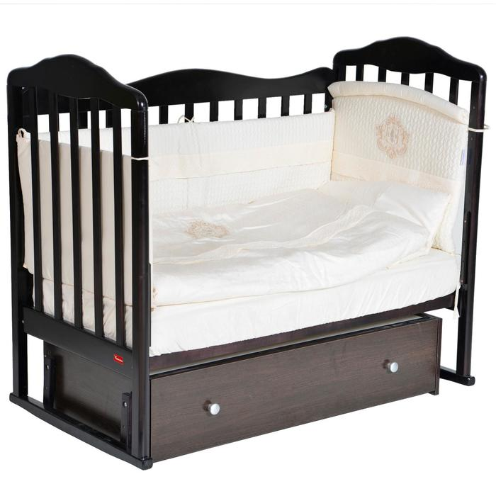 Кроватка Stephania, автостенка, универсальный маятник, ящик, цвет шоколад - фото 9020763