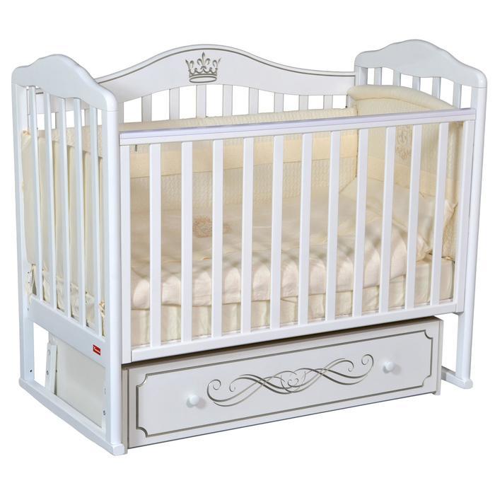 Кроватка Stephania Elite, автостенка, универсальный маятник, ящик, цвет белый - фото 9020765