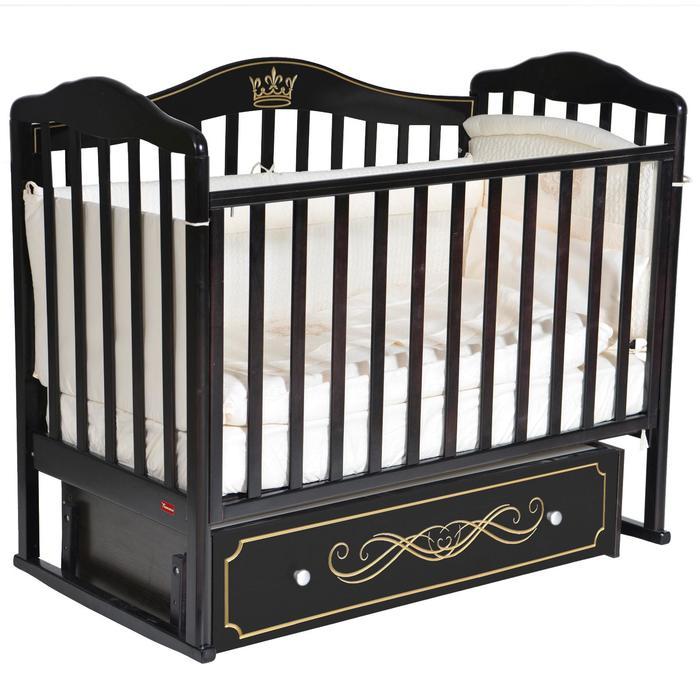 Кроватка Stephania Elite, автостенка, универсальный маятник, ящик, цвет шоколад - фото 9020766