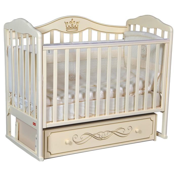 Кроватка Stephania Elegance, автостенка, универсальный маятник, ящик, цвет слоновая кость - фото 9020767