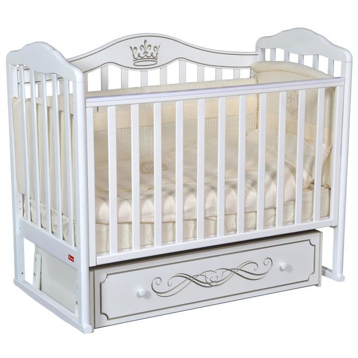 Кроватка Stephania Elegance, автостенка, универсальный маятник, ящик, цвет белый - фото 9020768