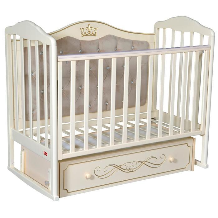 Кроватка Stephania Elegance Premium, автостенка, маятник, ящик, цвет слоновая кость - фото 9020770