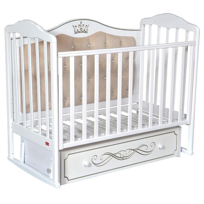 Кроватка Stephania Elegance Premium, автостенка, универсальный маятник, ящик, цвет белый - фото 9020771