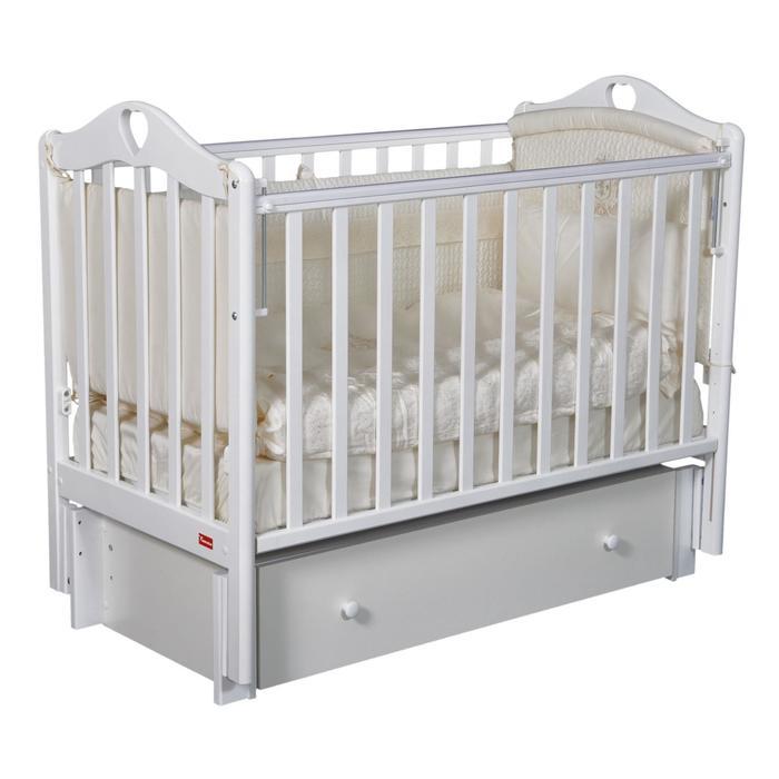 Кроватка Barbara Premium, маятник универсальный, ящик, цвет белый - фото 9020776