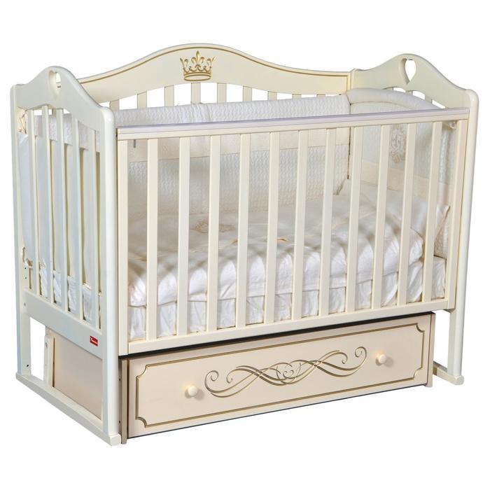 Кроватка Erika Elite, универсальный маятник, фигурная спинка, ящик, цвет слоновая кость - фото 9020779