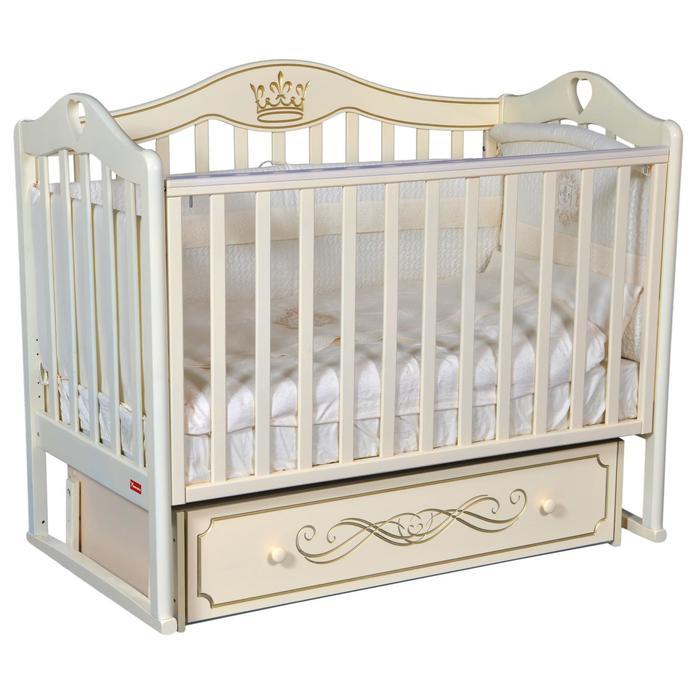 Кроватка Erika Elegance, универсальный маятник, фигурная спинка, ящик, цвет слоновая кость - фото 9020781