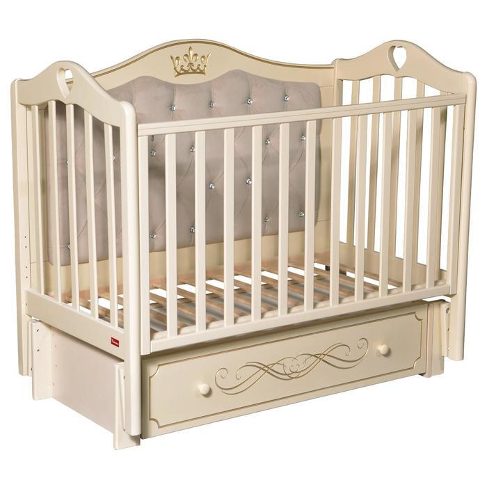 Кроватка Erika Elegance Premium, мягкая спинка, маятник, ящик, цвет слоновая кость - фото 9020783