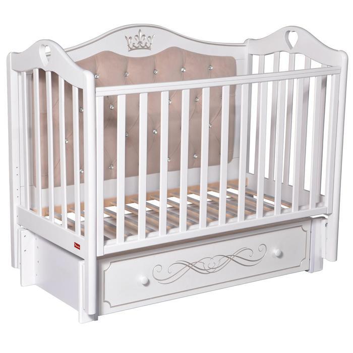 Кроватка Erika Elegance Premium, мягкая спинка, маятник, ящик, цвет белый - фото 9020784