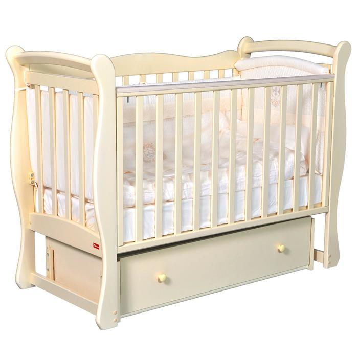 Кроватка Andrea, автостенка, ящик, универсальный маятник, цвет слоновая кость - фото 9020785