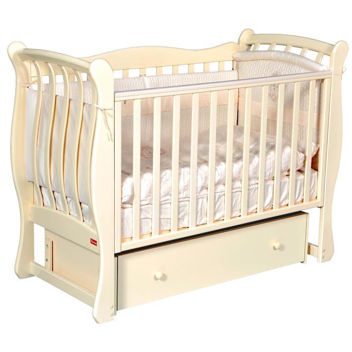 Кроватка Andrea Elegance, автостенка, ящик, универсальный маятник, цвет слоновая кость - фото 9020788