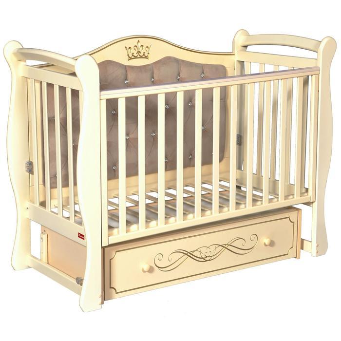 Кроватка Giovanni, мягкая спинка, автостенка, ящик, маятник, цвет слоновая кость - фото 9020791