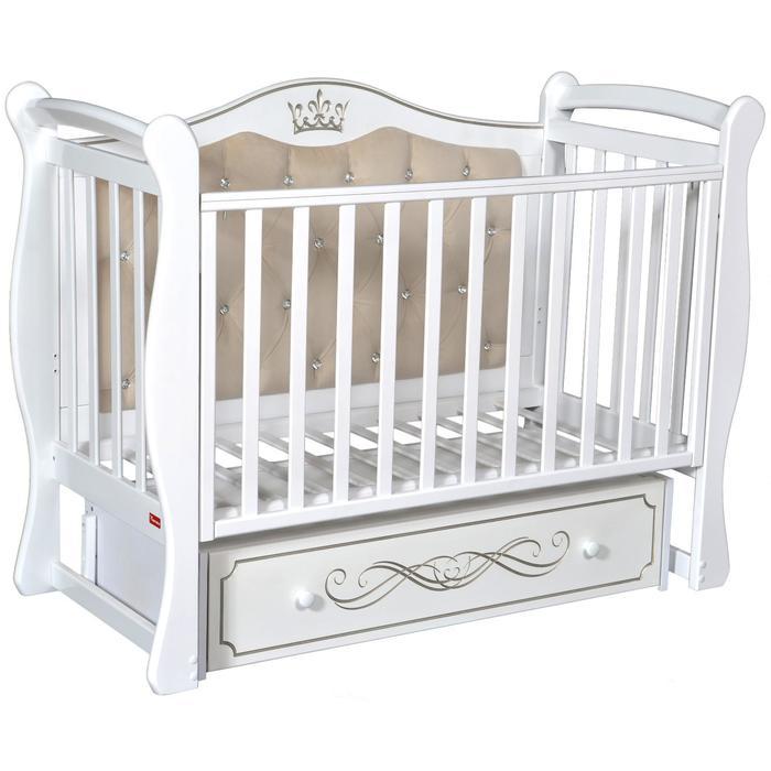 Кроватка Giovanni, мягкая спинка, автостенка, ящик, универсальный маятник, цвет белый - фото 9020792
