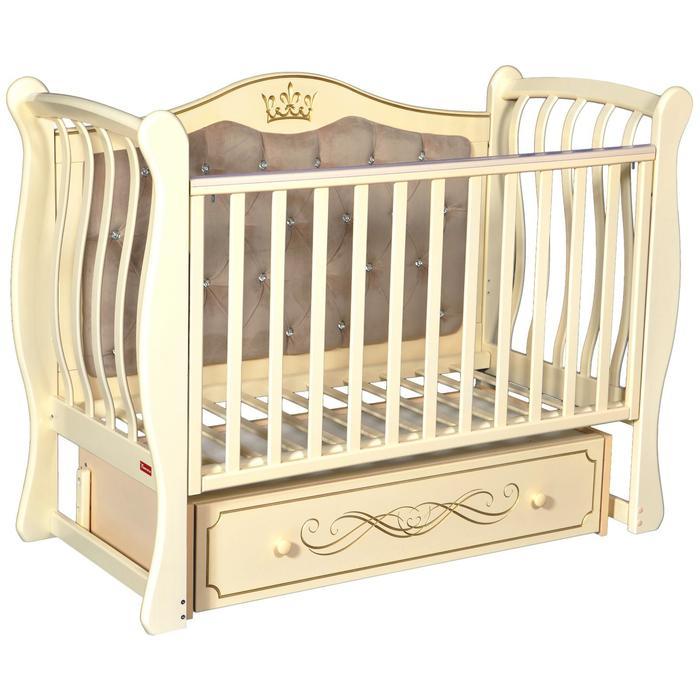 Кроватка Giovanni Elegance, мягкая спинка, автостенка, ящик, маятник, цвет слоновая кость - фото 9020794