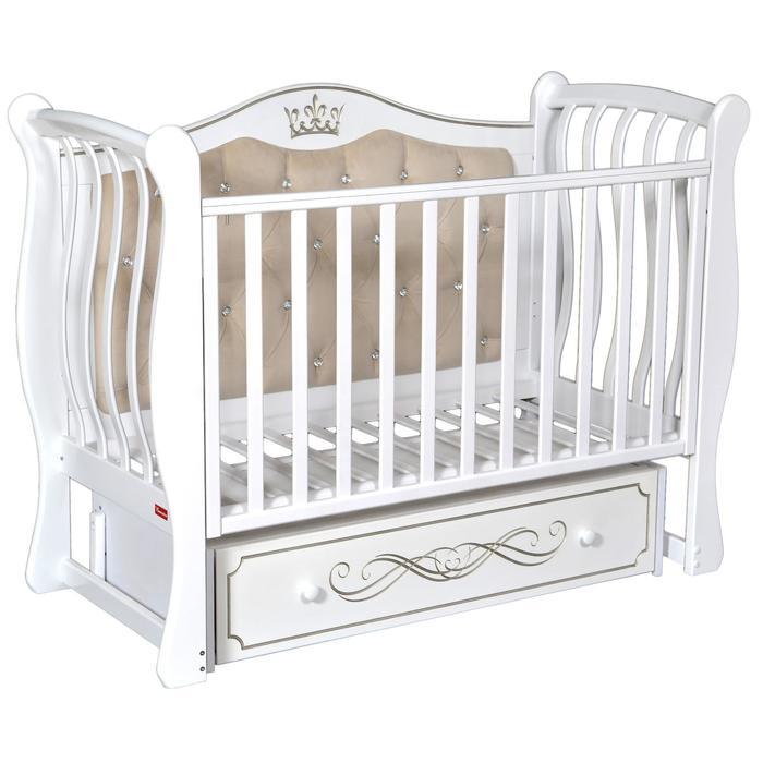 Кроватка Giovanni Elegance, мягкая спинка, автостенка, ящик, маятник, цвет белый - фото 9020795