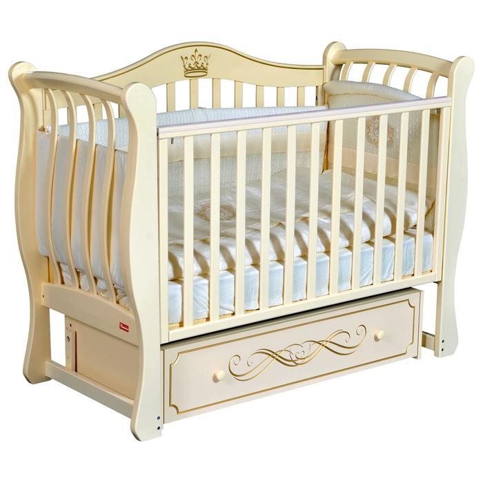 Кроватка Diana Elegance, автостенка, ящик, универсальный маятник, цвет слоновая кость - фото 9020800