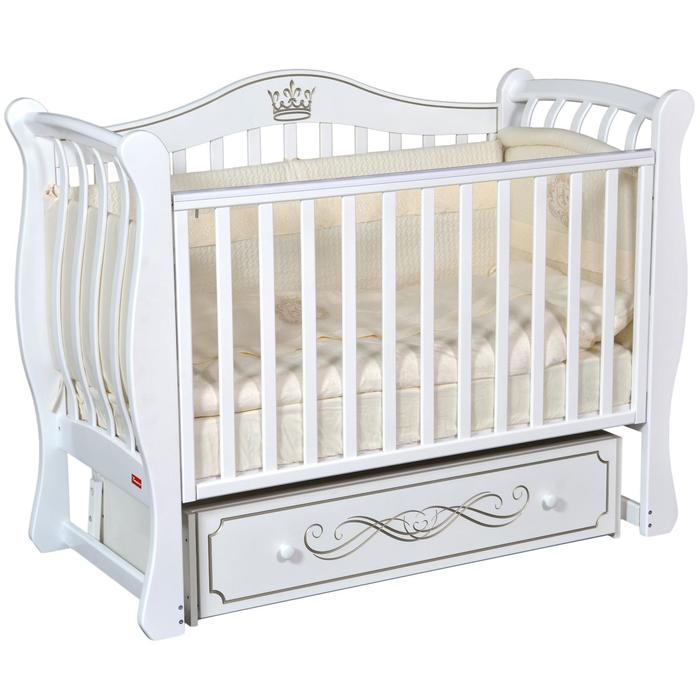 Кроватка Diana Elegance, автостенка, ящик, универсальный маятник, цвет белый - фото 9020801