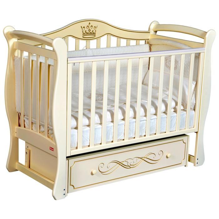 Кроватка Miranda, автостенка, ящик, универсальный маятник, цвет слоновая кость - фото 9020803