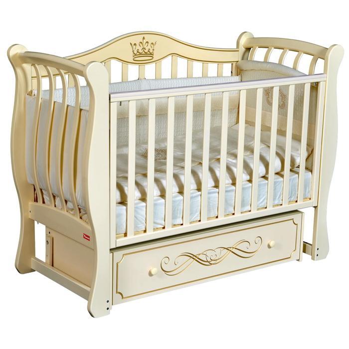 Кроватка Miranda Elegance, автостенка, ящик, универсальный маятник, цвет слоновая кость - фото 9020806