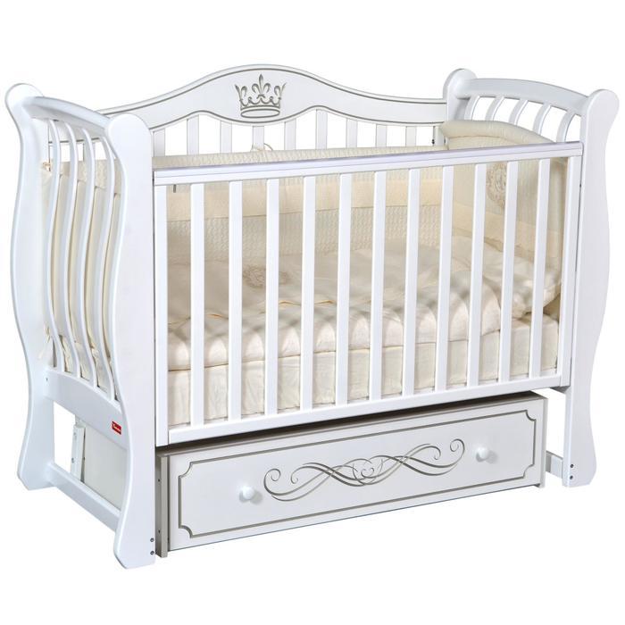 Кроватка Miranda Elegance, автостенка, ящик, универсальный маятник, цвет белый - фото 9020807