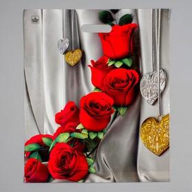 """Пакет """"Цветы"""" полиэтиленовый, с вырубной ручкой, 38 х 45 см, 60 мкм"""