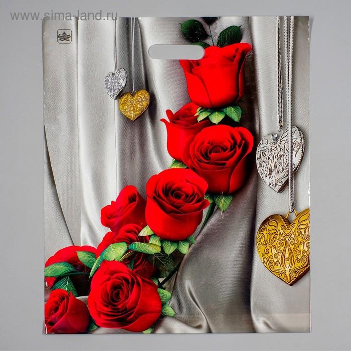 """Пакет """"Цветы"""" полиэтиленовый, с вырубной ручкой, 38х45 см, 60 мкм"""