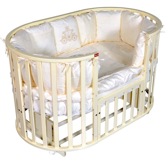 Кроватка Gracia 6 в 1, универсальный маятник, колесо, цвет слоновая кость - фото 9020809