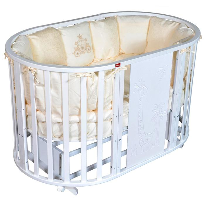 Кроватка Gracia Giraffe 6 в 1, универсальный маятник, колесо, цвет белый - фото 9020813
