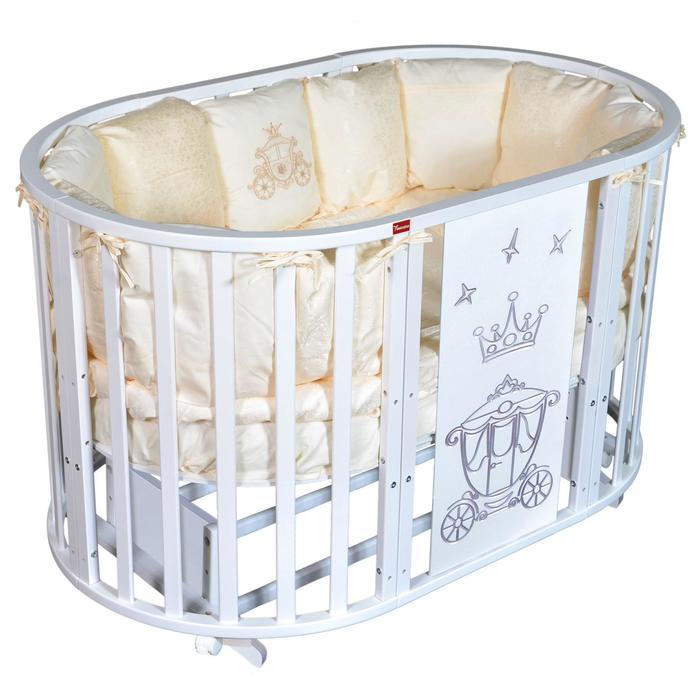 Кроватка Gracia Royal 6 в 1, универсальный маятник, колесо, цвет белый - фото 9020815