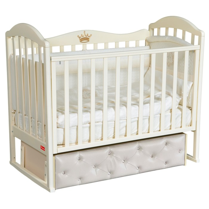 Кроватка Berta Premium, мягкий фасад, автостенка, ящик, маятник, цвет слоновая кость - фото 9020878