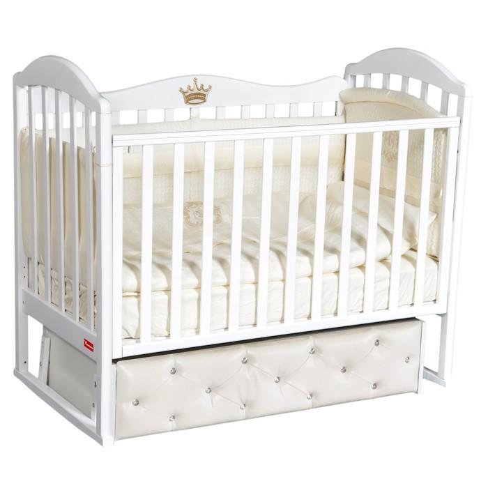 Кроватка Berta Premium, мягкий фасад, автостенка, ящик, универсальный маятник, цвет белый - фото 9020879