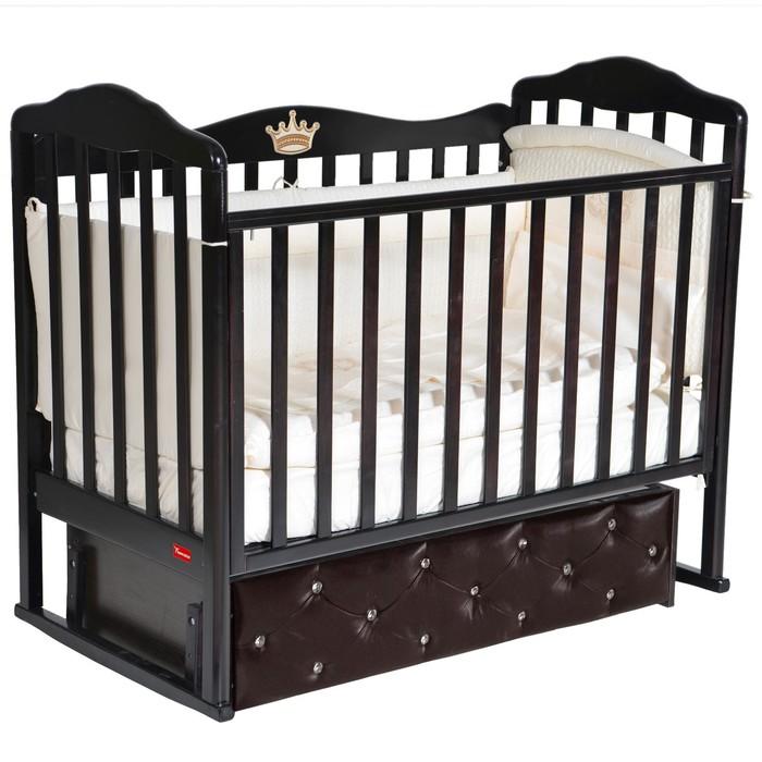 Кроватка Stephania Premium, мягкий фасад, автостенка, ящик, маятник, цвет шоколад - фото 9020883