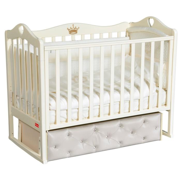 Кроватка Erika Premium, мягкий фасад, автостенка, ящик, маятник, цвет слоновая кость - фото 9020884