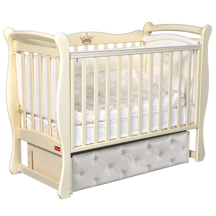 Кроватка Andrea Premium, мягкий фасад, автостенка, ящик, универсальный маятник, цвет слоновая кость - фото 9020886