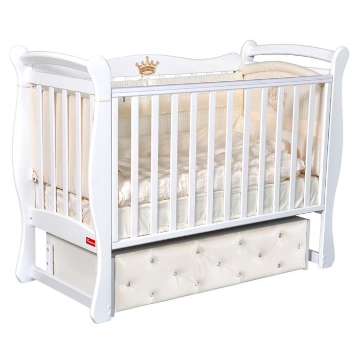 Кроватка Andrea Premium, мягкий фасад, автостенка, ящик, универсальный маятник, цвет белый - фото 9020887