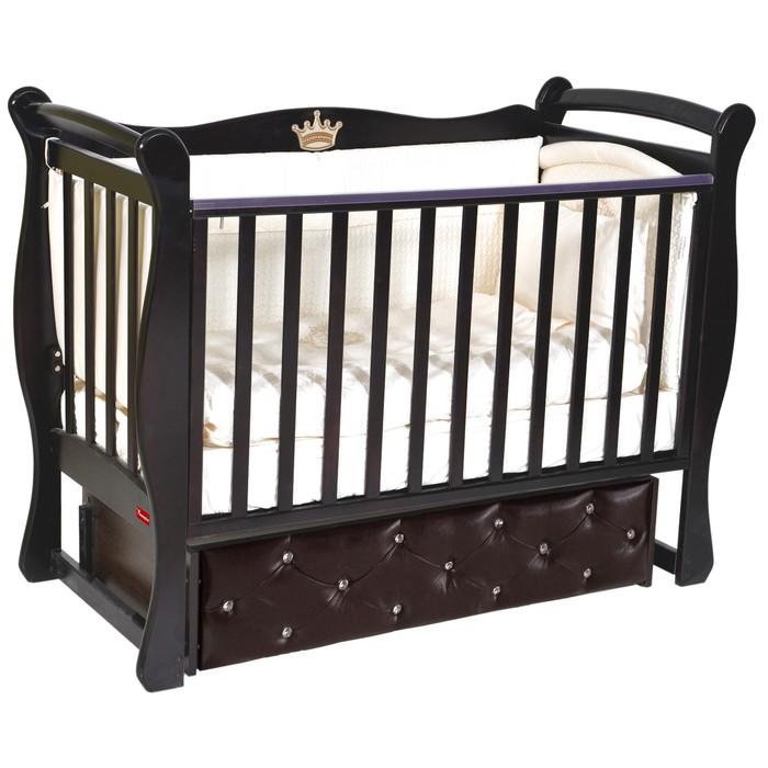 Кроватка Andrea Premium, мягкий фасад, автостенка, ящик, универсальный маятник, цвет шоколад   68931 - фото 9020888