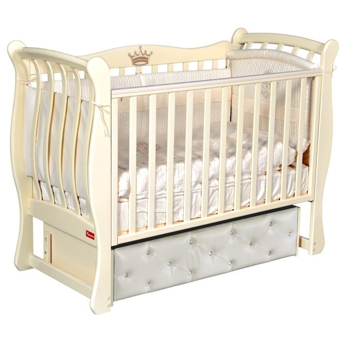 Кроватка Andrea Elegance Premium, мягкий фасад, автостенка, маятник, цвет слоновая кость - фото 9020889