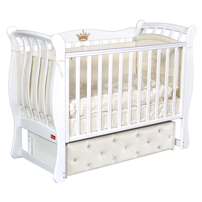 Кроватка Andrea Elegance Premium, мягкий фасад, автостенка, ящик, маятник, цвет белый - фото 9020890