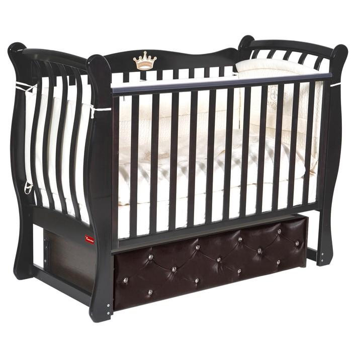 Кроватка Andrea Elegance Premium, мягкий фасад, автостенка, ящик, маятник, цвет шоколад - фото 9020891