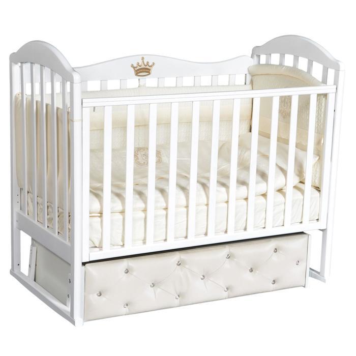 Кроватка Emily 7, мягкий фасад, автостенка, ящик, универсальный маятник, цвет белый - фото 9020893