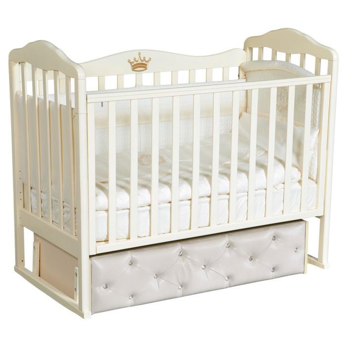 Кроватка Helen 8, мягкий фасад, автостенка, ящик, универсальный маятник, цвет слоновая кость   68932 - фото 9020895