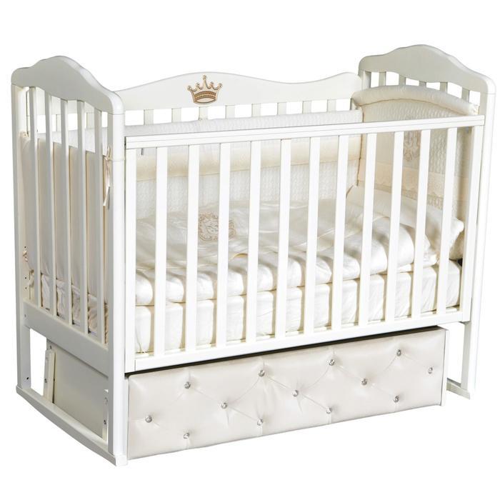 Кроватка Helen 8, мягкий фасад, автостенка, ящик, универсальный маятник, цвет белый - фото 9020896