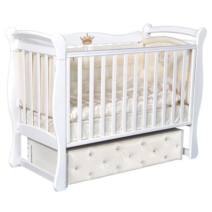 Кроватка Viola 2, мягкий фасад, автостенка, ящик, универсальный маятник, цвет белый - фото 9020901
