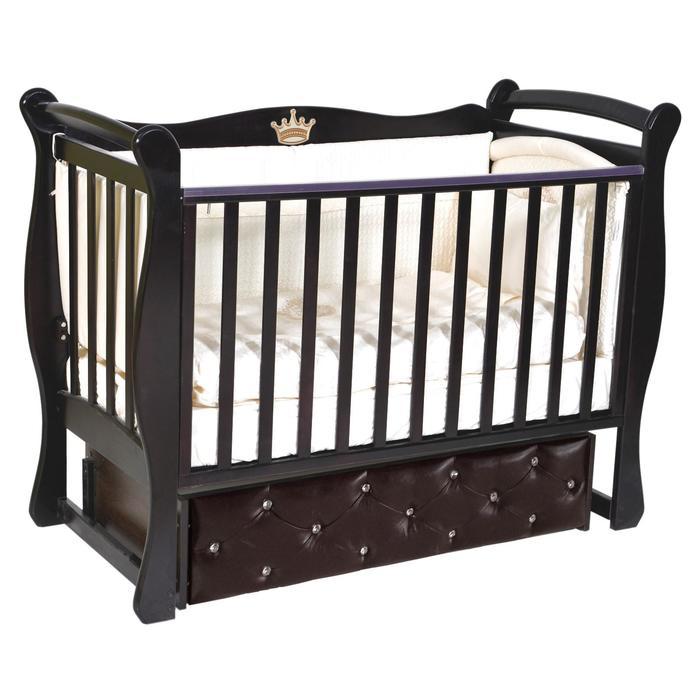Кроватка Viola 2, мягкий фасад, автостенка, ящик, универсальный маятник, цвет шоколад - фото 9020902